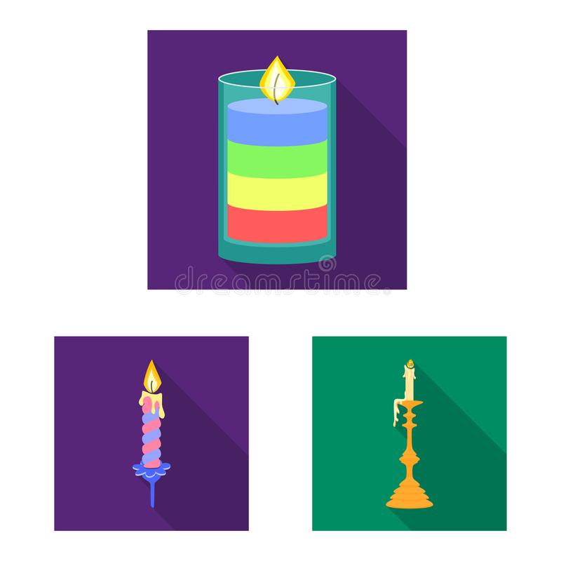 Vector illustration of candlelight and decoration logo. Collection of candlelight and flame stock symbol for web. Isolated object of candlelight and decoration stock illustration