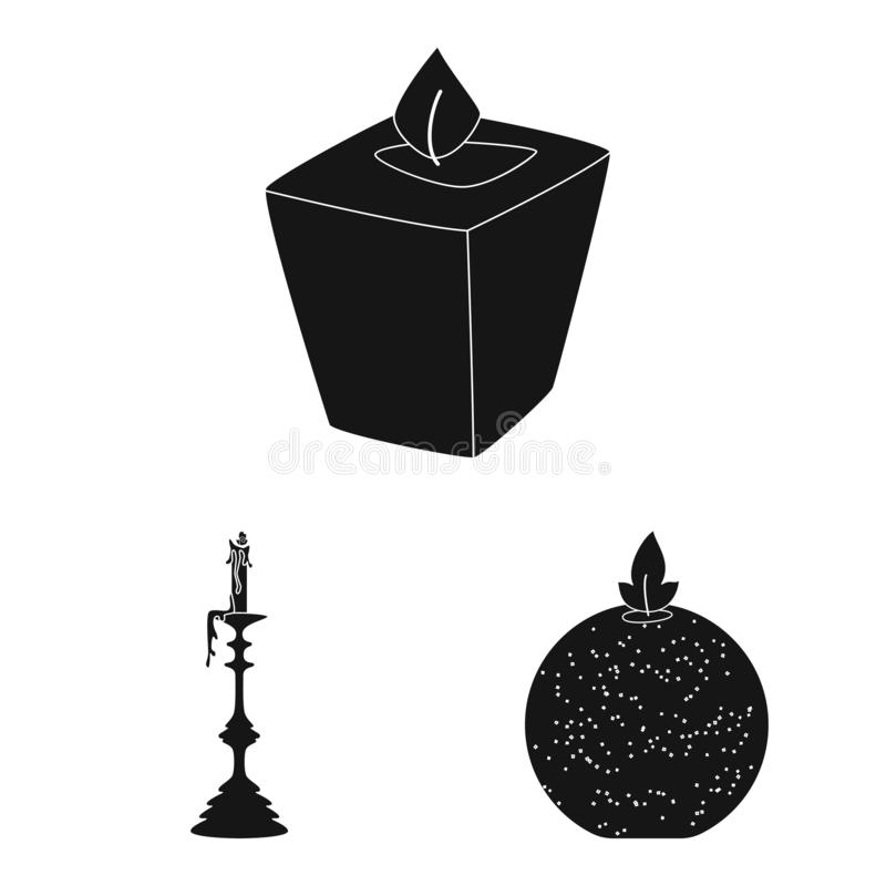 Isolated object of candlelight and decoration icon. Set of candlelight and wax vector icon for stock. Vector design of candlelight and decoration symbol royalty free illustration