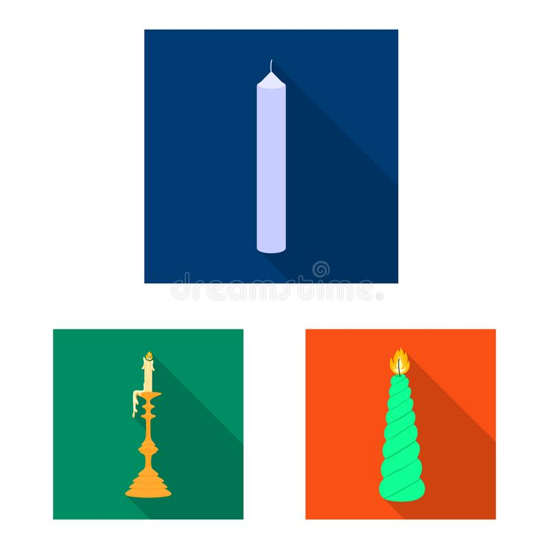 Vector illustration of candlelight and decoration sign. Set of candlelight and flame stock vector illustration. Isolated object of candlelight and decoration royalty free illustration