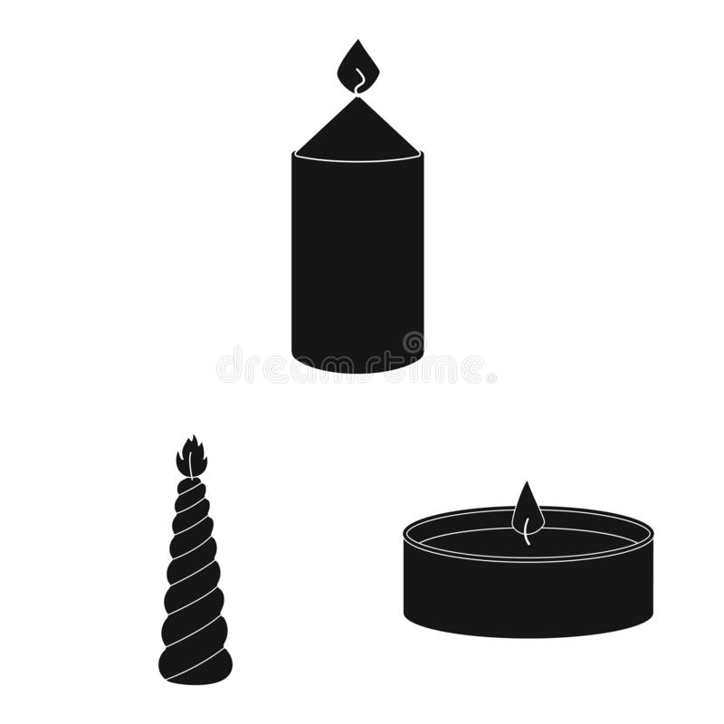 Isolated object of candlelight and decoration sign. Set of candlelight and wax stock vector illustration. Vector design of candlelight and decoration logo royalty free illustration