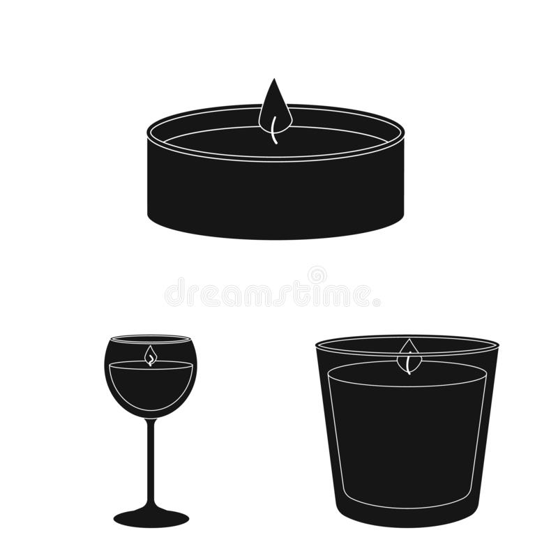 Vector illustration of candlelight and decoration icon. Set of candlelight and wax stock vector illustration. Isolated object of candlelight and decoration stock illustration