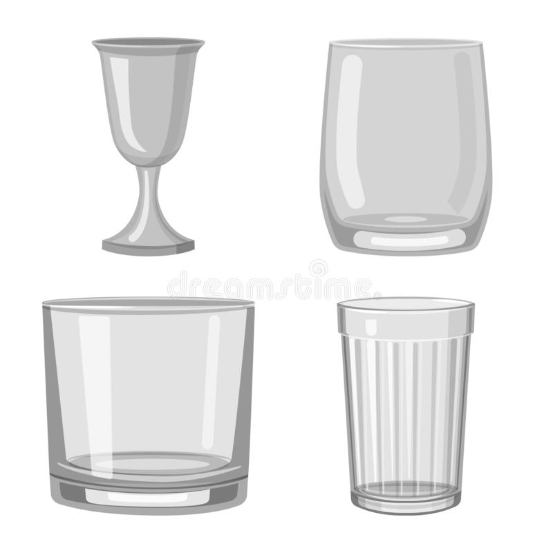 Vector illustration of capacity and glassware logo. Collection of capacity and restaurant vector icon for stock. Isolated object of capacity and glassware icon royalty free illustration