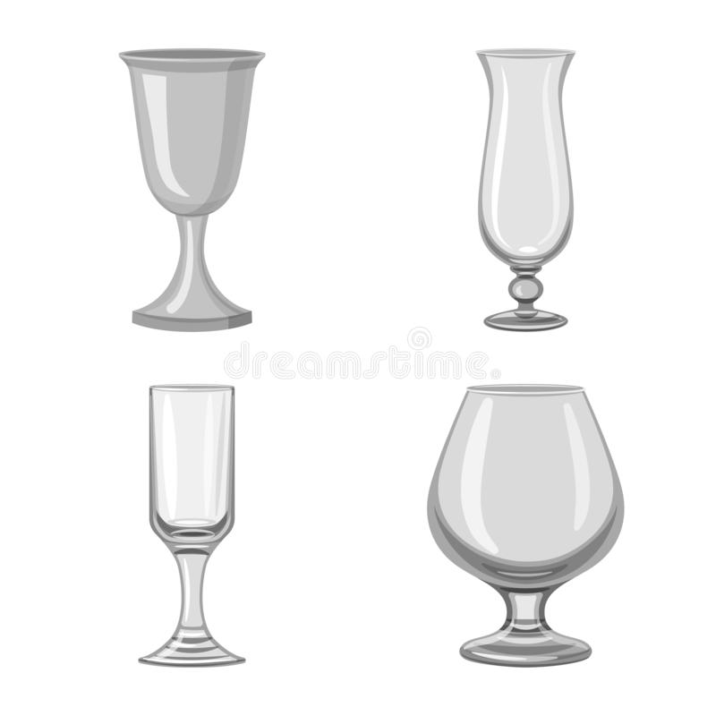 Isolated object of capacity and glassware logo. Set of capacity and restaurant stock vector illustration. Vector design of capacity and glassware icon stock illustration