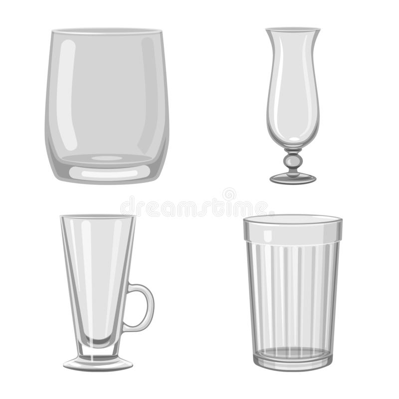 Isolated object of capacity and glassware logo. Set of capacity and restaurant stock vector illustration. Vector design of capacity and glassware icon royalty free illustration