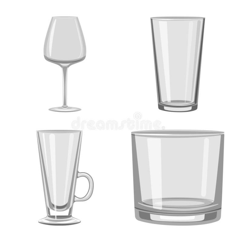 Vector illustration of capacity and glassware symbol. Collection of capacity and restaurant vector icon for stock. Isolated object of capacity and glassware vector illustration