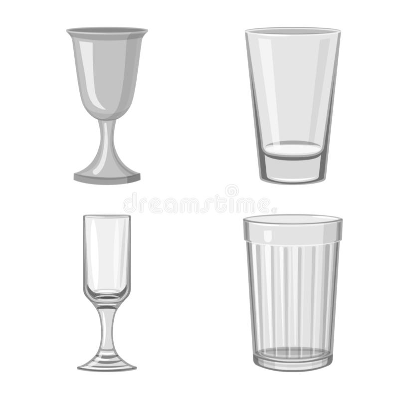 Isolated object of capacity and glassware symbol. Collection of capacity and restaurant vector icon for stock. Vector design of capacity and glassware sign. Set vector illustration
