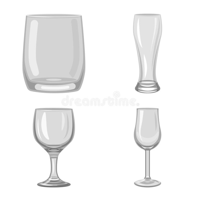 Isolated object of capacity and glassware symbol. Set of capacity and restaurant stock symbol for web. Vector design of capacity and glassware sign. Collection royalty free illustration