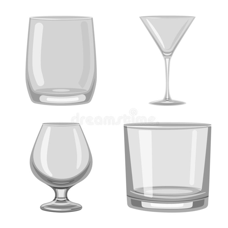 Vector illustration of capacity and glassware icon. Collection of capacity and restaurant stock symbol for web. Isolated object of capacity and glassware symbol stock illustration