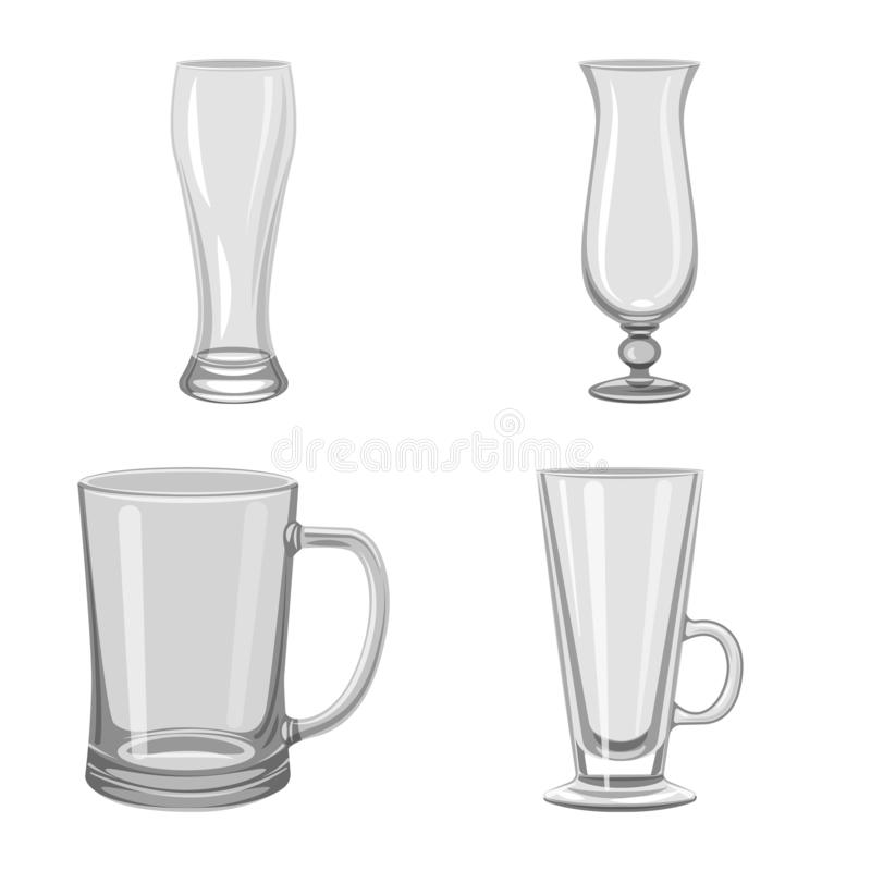Isolated object of capacity and glassware symbol. Set of capacity and restaurant vector icon for stock. Vector design of capacity and glassware sign. Collection stock illustration