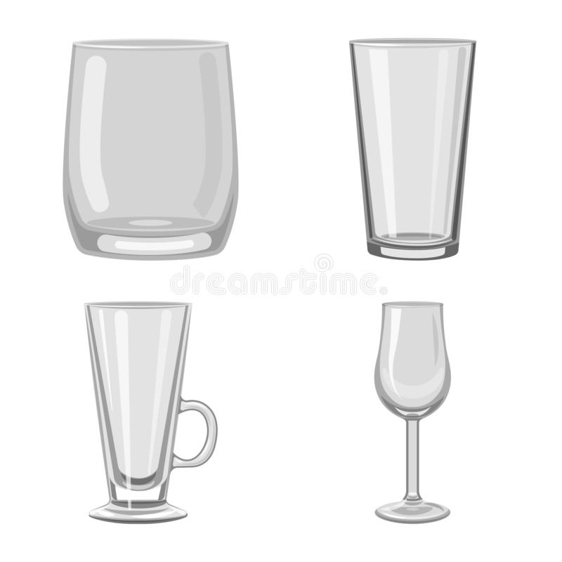 Isolated object of capacity and glassware symbol. Set of capacity and restaurant vector icon for stock. Vector design of capacity and glassware sign. Collection royalty free illustration