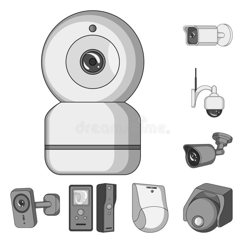 Vector illustration of cctv and camera logo. Collection of cctv and system stock symbol for web. Isolated object of cctv and camera icon. Set of cctv and system stock illustration