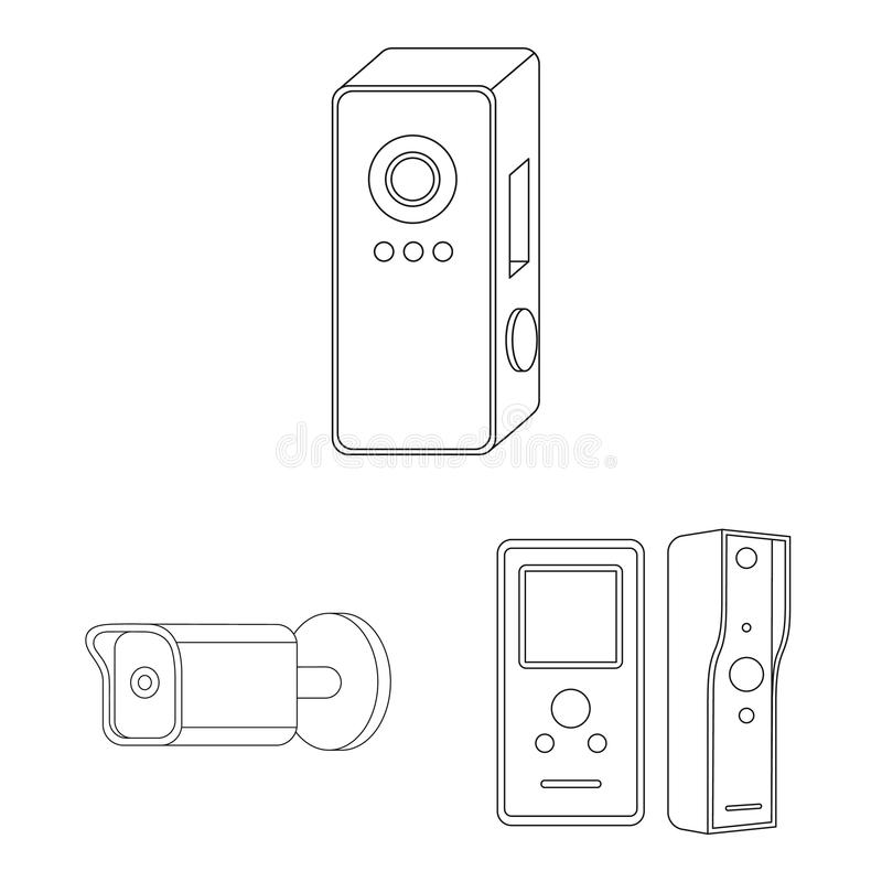 Isolated object of cctv and camera logo. Set of cctv and system vector icon for stock. royalty free illustration