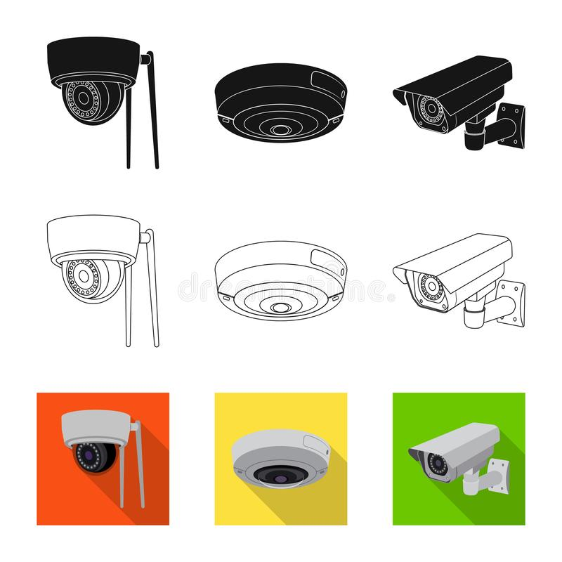 Isolated object of cctv and camera symbol. Set of cctv and system vector icon for stock. Vector design of cctv and camera sign. Collection of cctv and system stock illustration