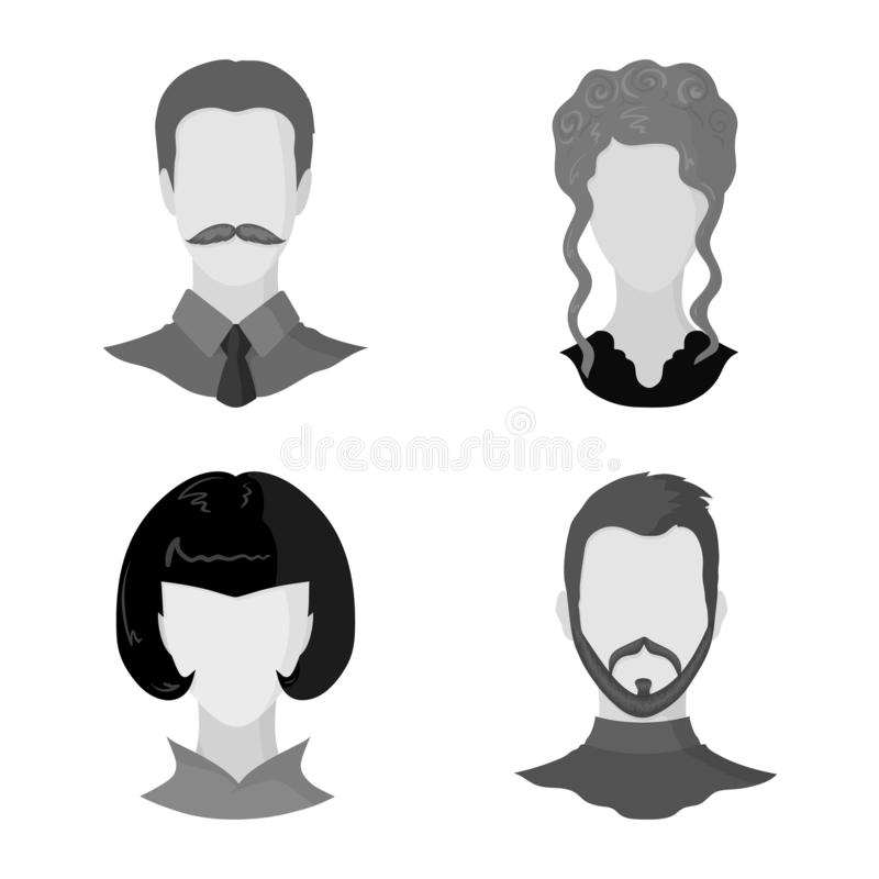 Vector illustration of character and profile icon. Set of character and dummy stock symbol for web. Isolated object of character and profile symbol. Collection stock illustration