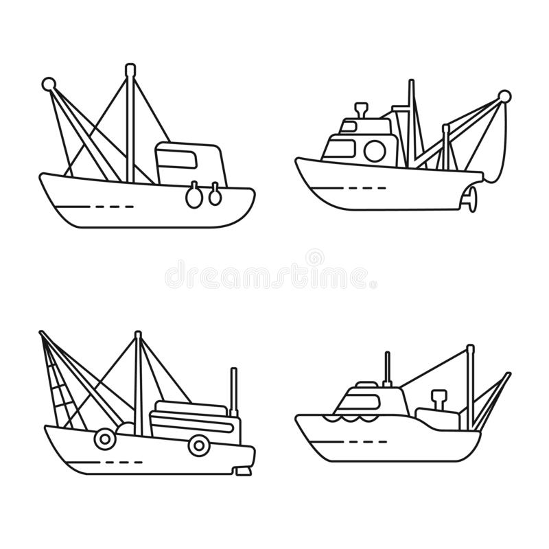 Isolated object of commercial and vessel logo. Collection of commercial and speedboat stock vector illustration. Vector design of commercial and vessel icon royalty free illustration