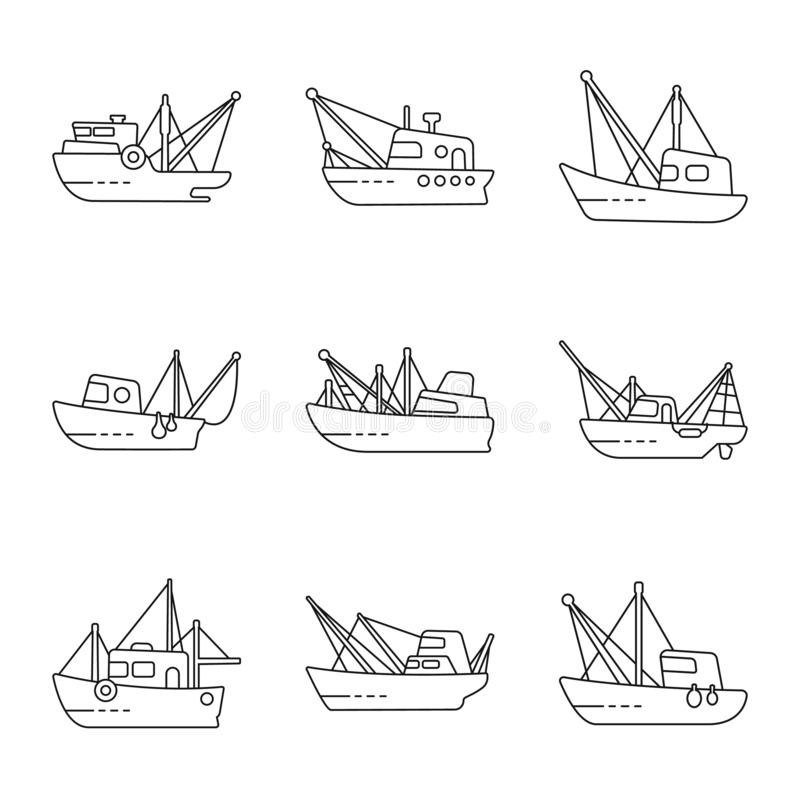 Isolated object of commercial and vessel logo. Set of commercial and speedboat stock vector illustration. Vector design of commercial and vessel icon stock illustration