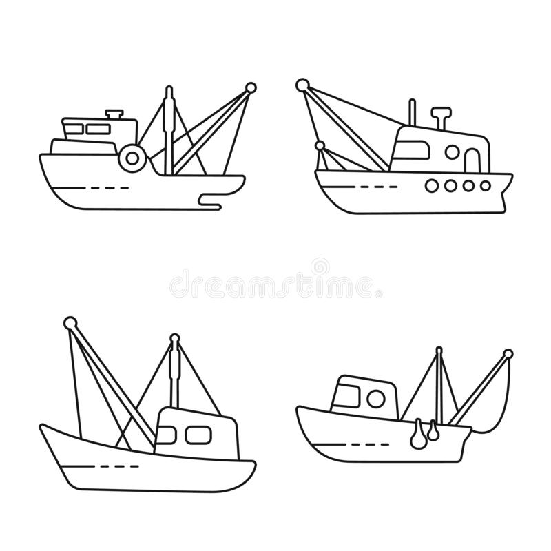 Isolated object of commercial and vessel sign. Collection of commercial and speedboat vector icon for stock. Vector design of commercial and vessel logo. Set of stock illustration