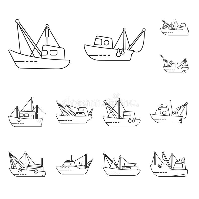 Vector illustration of commercial and vessel symbol. Collection of commercial and speedboat vector icon for stock. Isolated object of commercial and vessel sign stock illustration