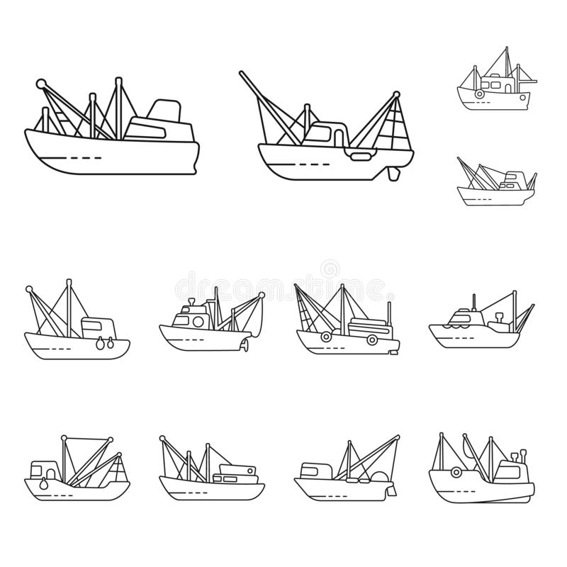 Isolated object of commercial and vessel symbol. Collection of commercial and speedboat vector icon for stock. Vector design of commercial and vessel sign. Set royalty free illustration