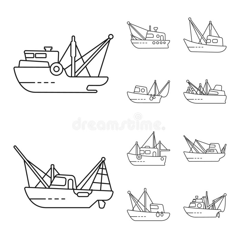Isolated object of commercial and vessel symbol. Collection of commercial and speedboat stock symbol for web. Vector design of commercial and vessel sign. Set royalty free illustration