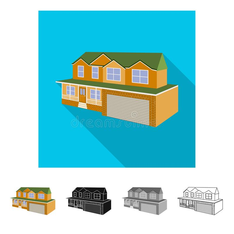 Isolated object of cottage and apartment logo. Set of cottage and dwelling stock vector illustration. Vector design of cottage and apartment icon. Collection of vector illustration