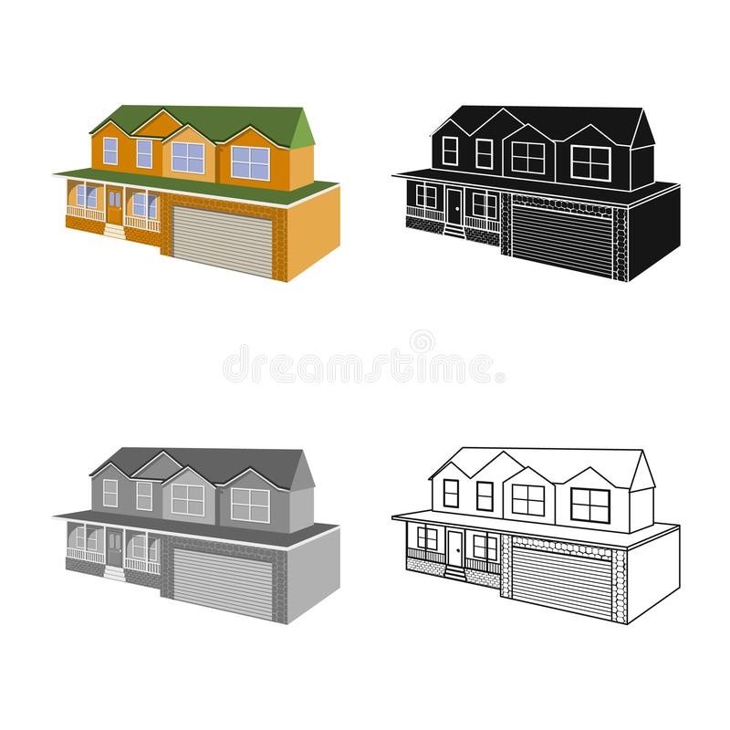 Isolated object of cottage and apartment sign. Set of cottage and dwelling vector icon for stock. Vector design of cottage and apartment logo. Collection of royalty free illustration