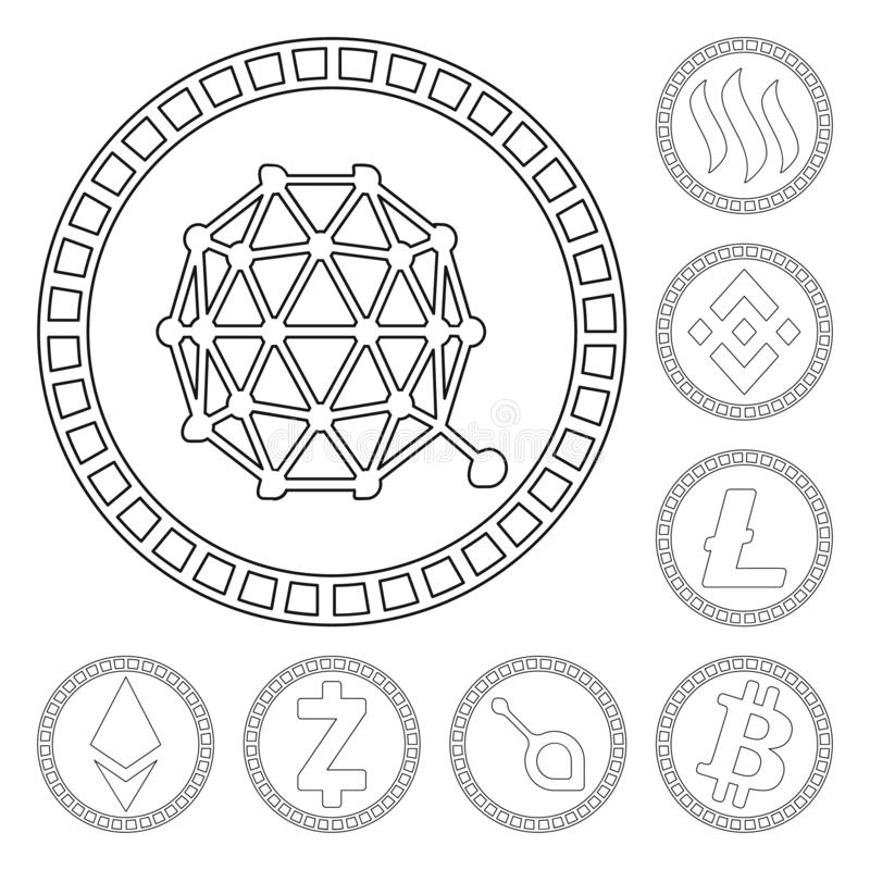 Isolated object of crypto and internet sign. Collection of crypto and finance vector icon for stock. Vector design of crypto and internet logo. Set of crypto stock illustration
