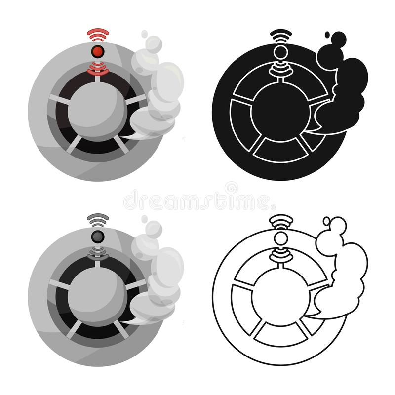 Isolated object of detector and smoke icon. Set of detector and sensor stock vector illustration. Vector design of detector and smoke symbol. Collection of royalty free illustration