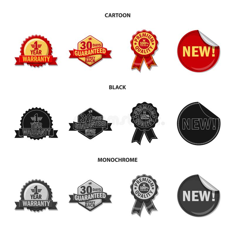 Isolated object of emblem and badge logo. Collection of emblem and sticker stock symbol for web. royalty free illustration