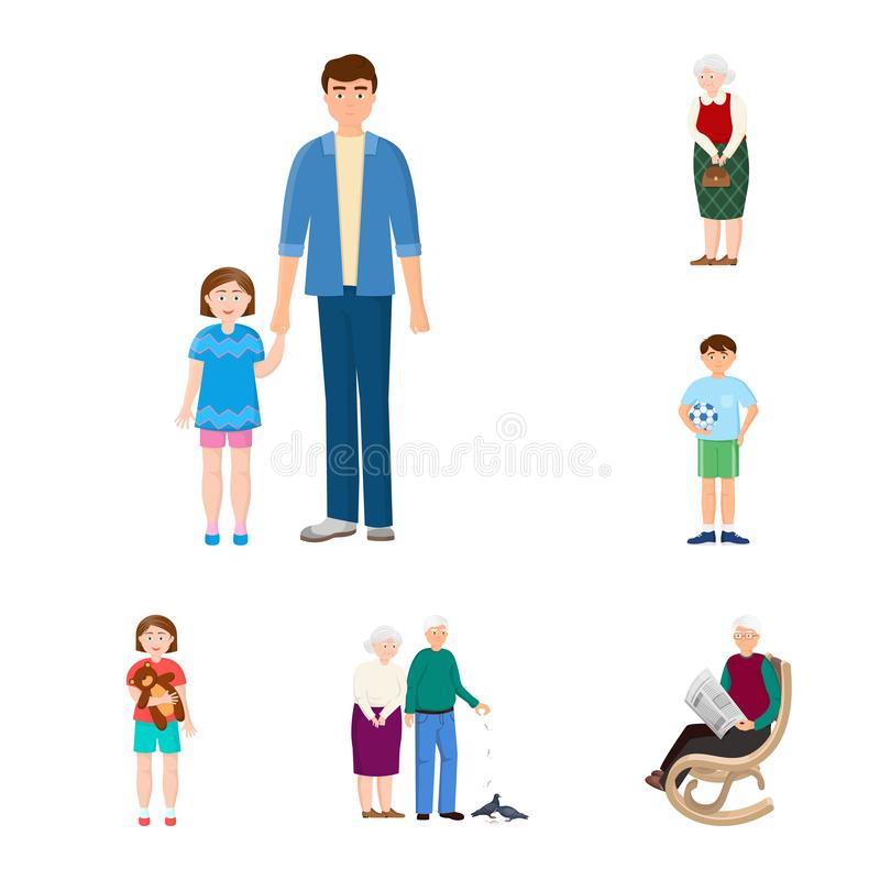 Vector illustration of family and people sign. Set of family and avatar stock symbol for web. Isolated object of family and people logo. Collection of family vector illustration
