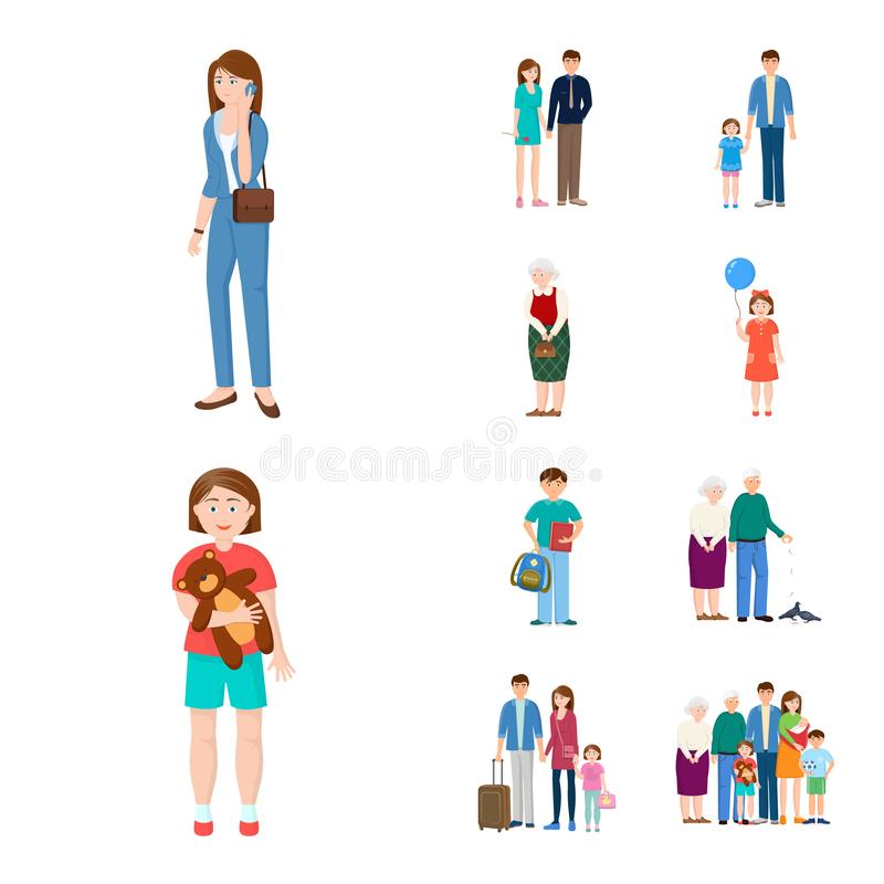 Isolated object of family and people sign. Collection of family and avatar stock vector illustration. Vector design of family and people logo. Set of family and royalty free illustration