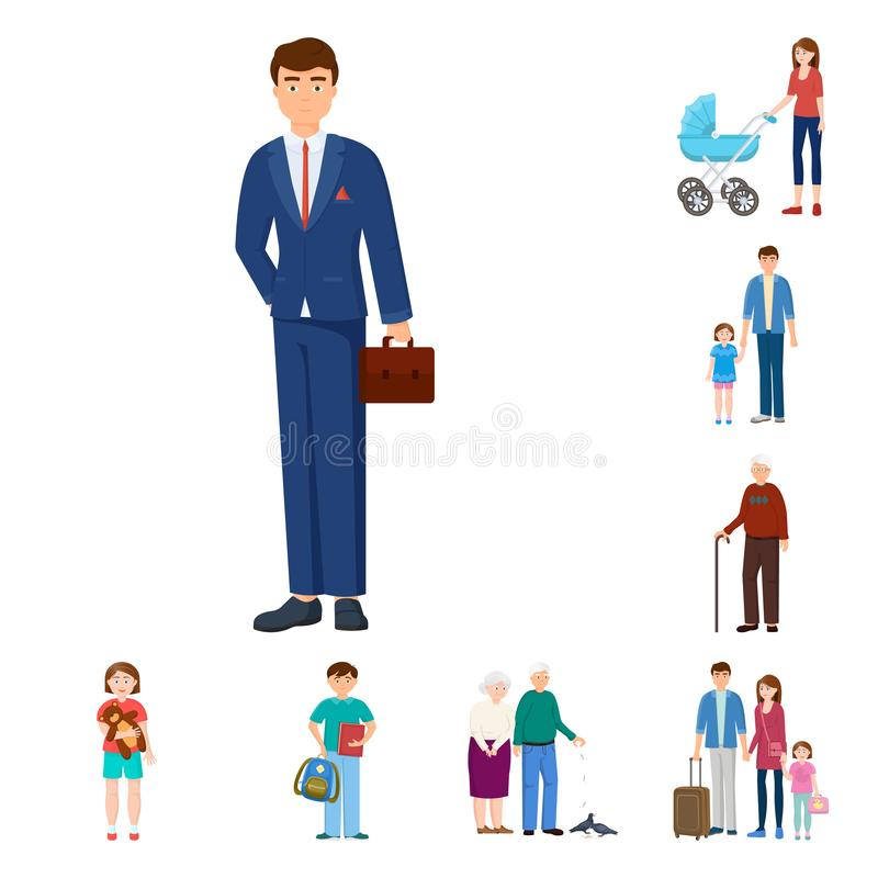 Isolated object of family and people sign. Set of family and avatar stock vector illustration. Vector design of family and people logo. Collection of family and royalty free illustration
