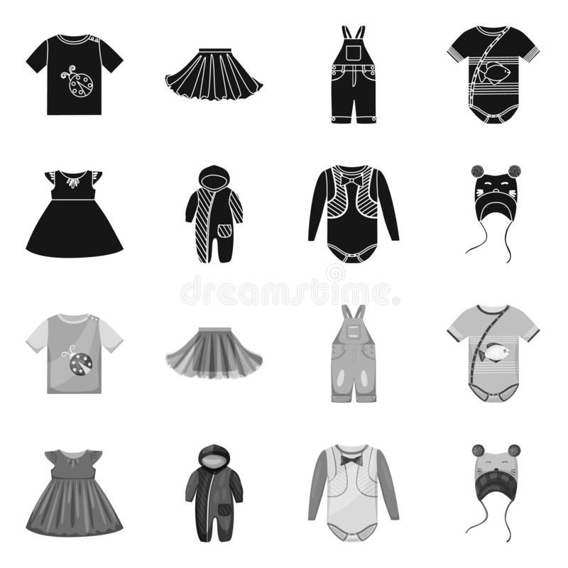 Isolated object of fashion and garment icon. Set of fashion and cotton stock vector illustration. Vector design of fashion and garment symbol. Collection of royalty free illustration