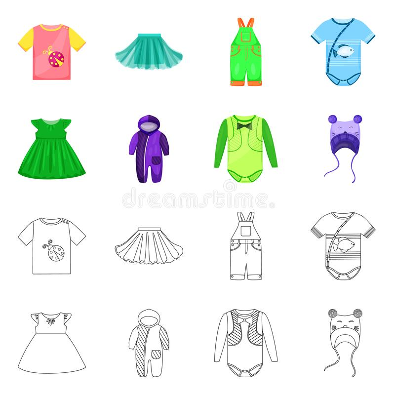 Isolated object of fashion and garment symbol. Collection of fashion and cotton stock symbol for web. Vector design of fashion and garment sign. Set of fashion vector illustration
