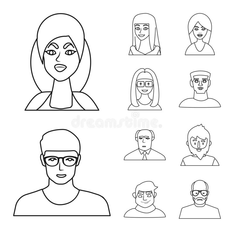 Isolated object of fashion and haircut sign. Collection of fashion and nationality vector icon for stock. Vector design of fashion and haircut logo. Set of vector illustration