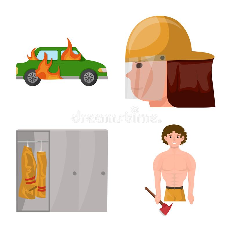 Vector illustration of firefighters and fire icon. Collection of firefighters and equipment stock symbol for web. Isolated object of firefighters and fire royalty free illustration