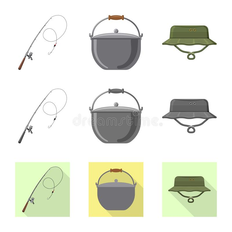 Isolated object of fish and fishing icon. Collection of fish and equipment stock vector illustration. stock illustration
