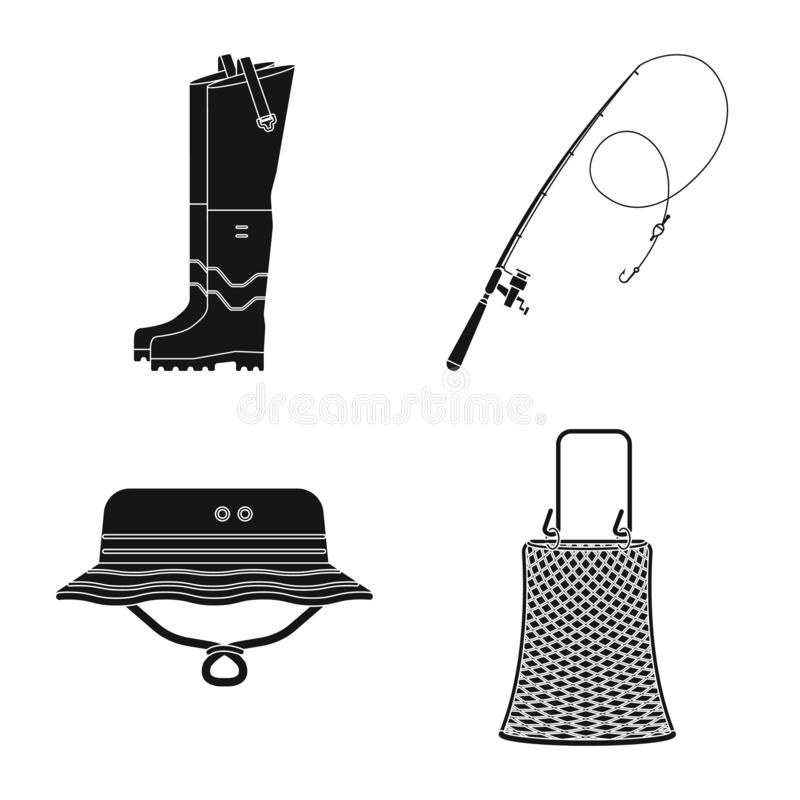 Isolated object of fish and fishing icon. Set of fish and equipment stock symbol for web. royalty free illustration