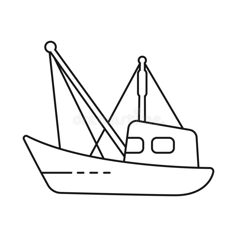 Isolated object of fishery and trawler icon. Collection of fishery and naval stock vector illustration. Vector design of fishery and trawler symbol. Set of stock illustration