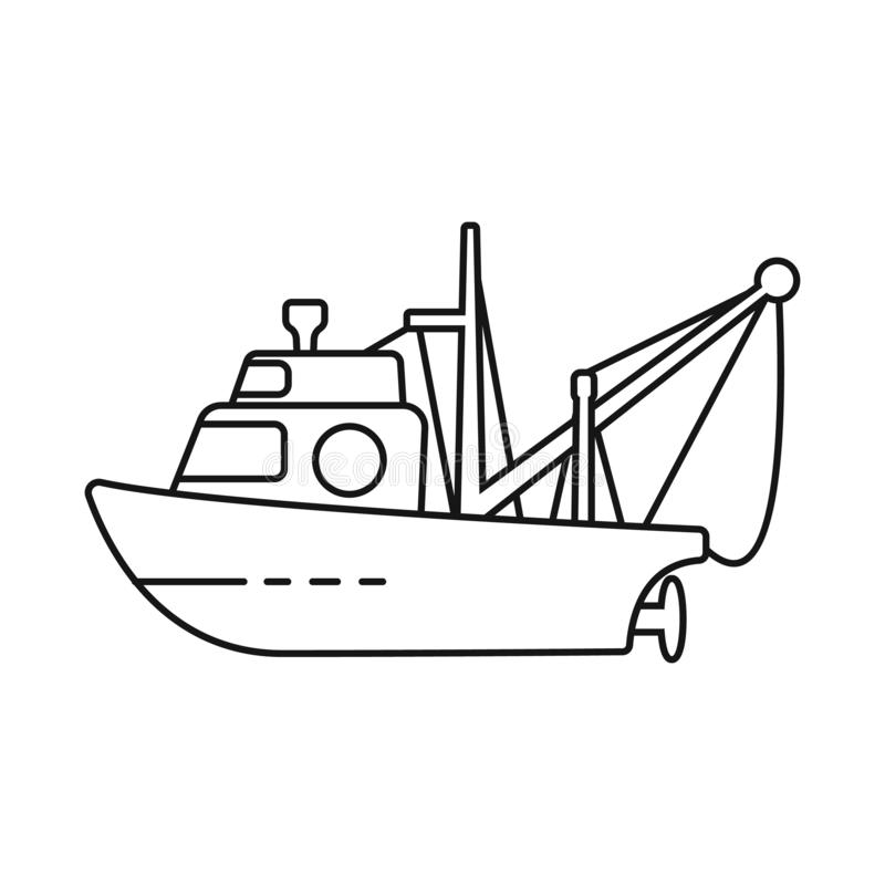 Isolated object of fishery and trawler symbol. Set of fishery and tug stock symbol for web. Vector design of fishery and trawler sign. Collection of fishery and stock illustration