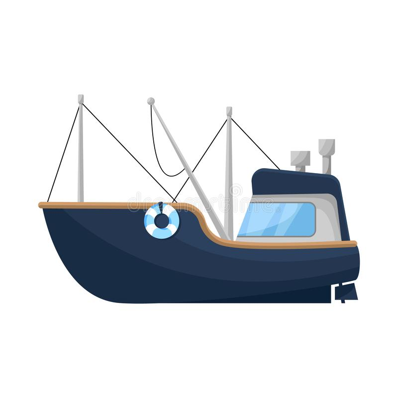 Isolated object of fishing and trawler sign. Collection of fishing and fishery vector icon for stock. Vector design of fishing and trawler logo. Set of fishing royalty free illustration