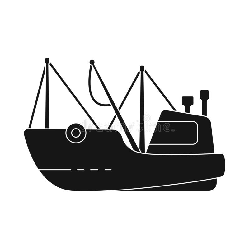 Isolated object of fishing and trawler symbol. Set of fishing and fishery vector icon for stock. Vector design of fishing and trawler sign. Collection of royalty free illustration