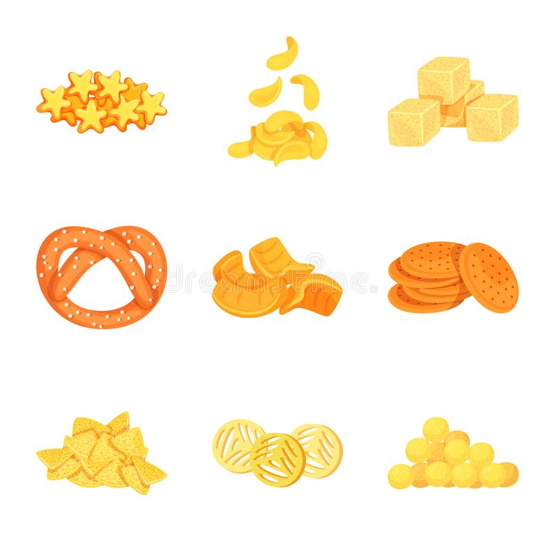 Isolated object of food and crunchy icon. Set of food and flavor vector icon for stock. Vector design of food and crunchy symbol. Collection of food and flavor royalty free illustration