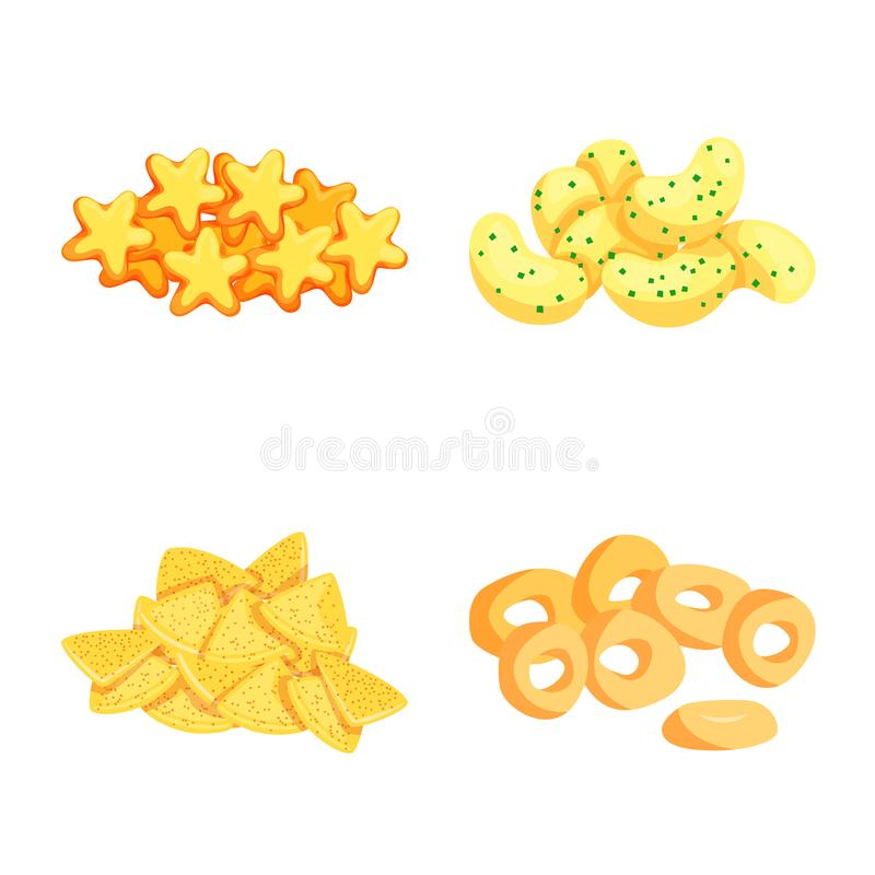 Vector illustration of food and crunchy logo. Collection of food and flavor stock vector illustration. Isolated object of food and crunchy icon. Set of food and royalty free illustration