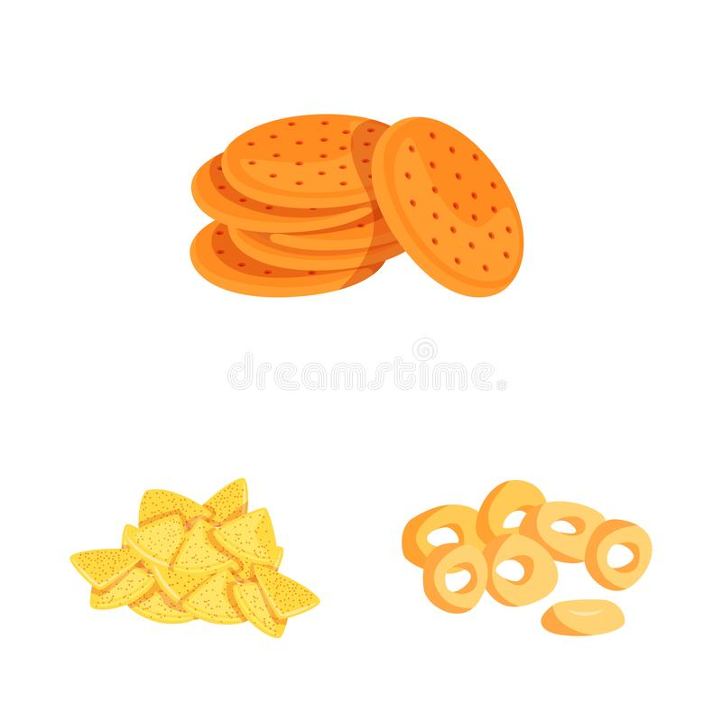Isolated object of food and crunchy logo. Set of food and flavor stock symbol for web. Vector design of food and crunchy icon. Collection of food and flavor royalty free illustration