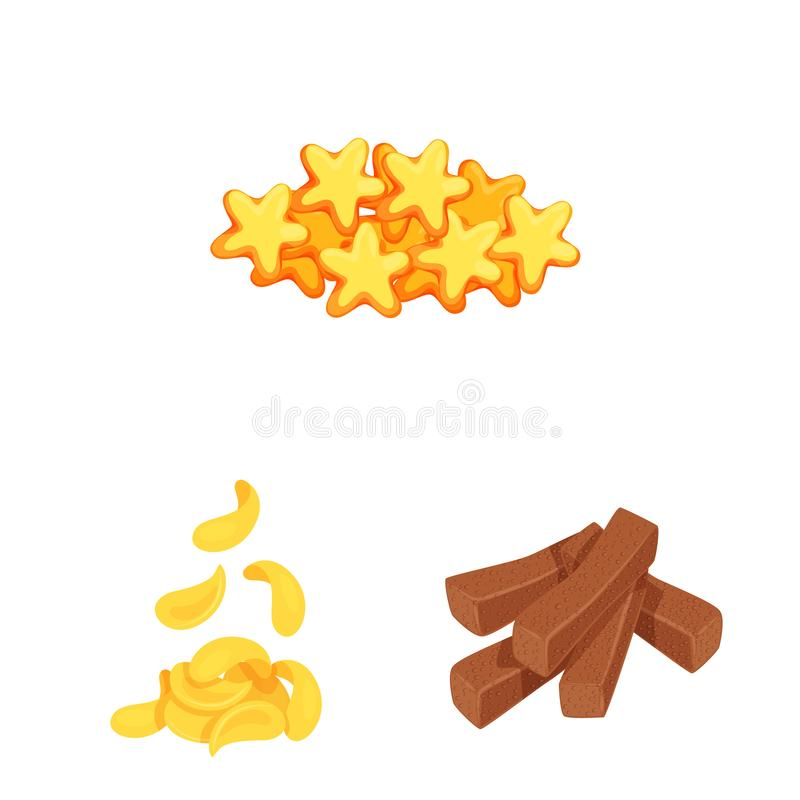Isolated object of food and crunchy sign. Collection of food and flavor vector icon for stock. Vector design of food and crunchy logo. Set of food and flavor royalty free illustration