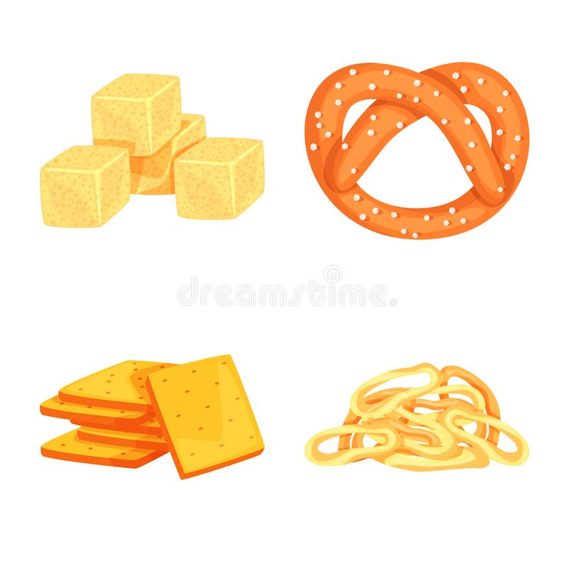 Isolated object of food and crunchy sign. Set of food and flavor stock symbol for web. Vector design of food and crunchy logo. Collection of food and flavor vector illustration