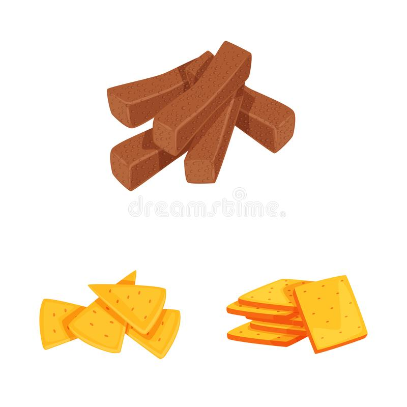 Isolated object of food and crunchy sign. Set of food and flavor stock vector illustration. Vector design of food and crunchy logo. Collection of food and stock illustration