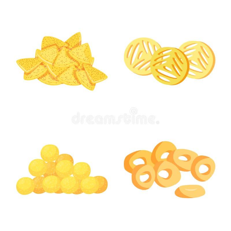 Vector illustration of food and crunchy symbol. Collection of food and flavor stock vector illustration. Isolated object of food and crunchy sign. Set of food royalty free illustration