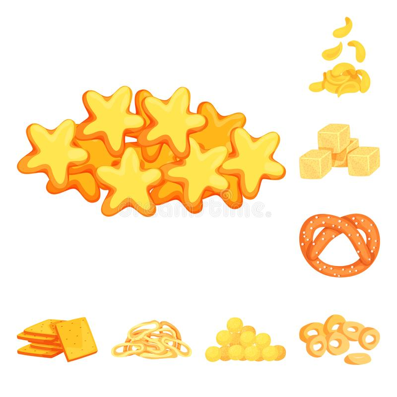 Vector illustration of food and crunchy symbol. Collection of food and flavor stock vector illustration. Isolated object of food and crunchy sign. Set of food vector illustration